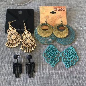 4 Pair of Earrings Various Brands